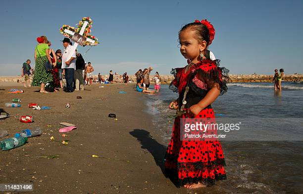 Gypsies and nongypsy pilgrims seen during the procession of carrying the statue of Sara the Patron Saint of the Gypsies to the sea on May 24 2011 in...