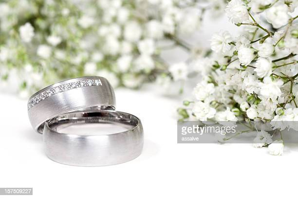 gypsophila and a pair of rings