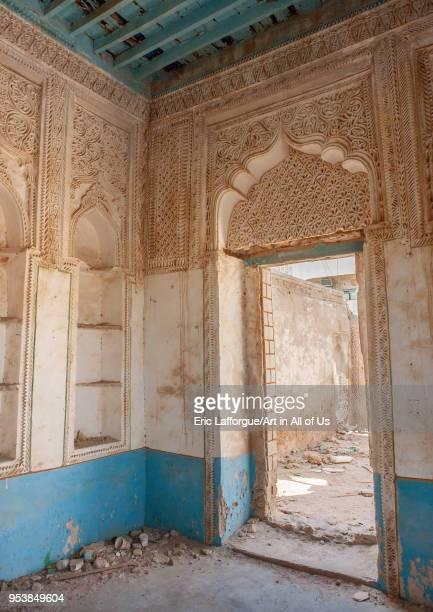 Gypsum decoration of the internal walls of hussein y alrifaiu2019s house Jizan Region Farasan island Saudi Arabia on January 14 2010 in Farasan...