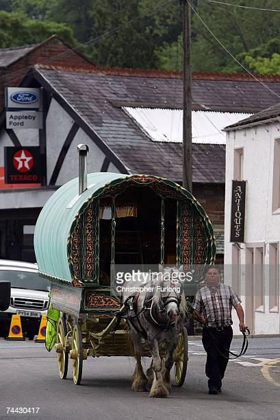 A gypsy caravan arrives for the start of the Appleby Horse Fair on June 7 2007 in ApplebyinWestmorland England Appleby Horse Fair has existed under...