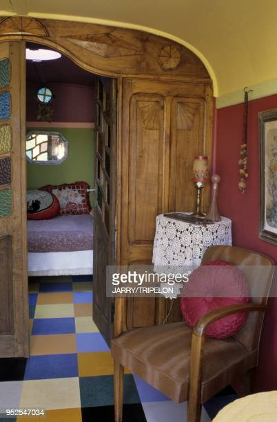 Gypsy caravan restored by Jeanne Bayol bed and breakfast Le Mas du Pastre Eygalieres Alpilles and Provence area BouchesduRhone department PACA region...