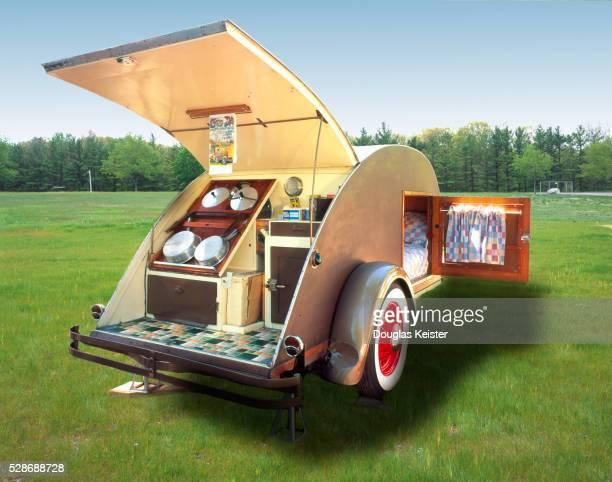 1937 gypsy caravan teardrop trailer - gypsy caravan stock pictures, royalty-free photos & images