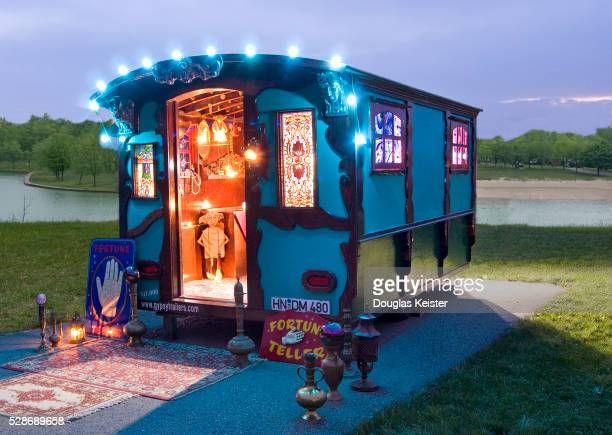 gypsy caravan with stained glass windows - gypsy caravan stock pictures, royalty-free photos & images
