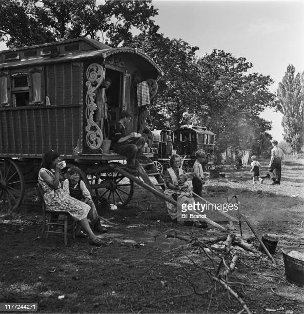 A gypsy encampment at Brook Farm in Wingham Kent during the plumpicking season September 1942 Original Publication Picture Post 1235 Saving Britain's...