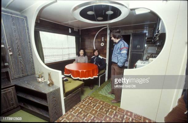 Gypsy family in her caravan 1982