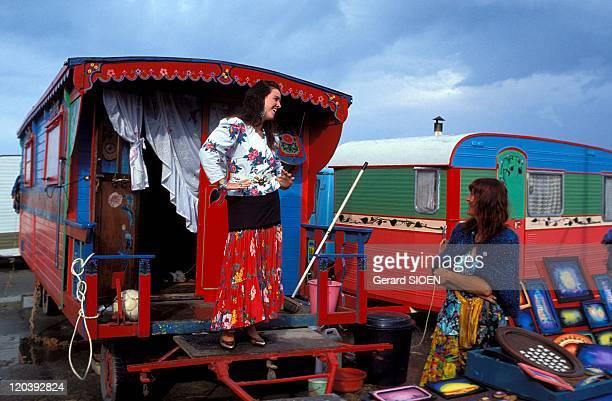 Gypsy festival in Saintes Maries De La Mer France Ambiance caravan