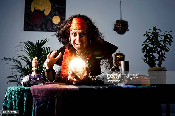 gypsy fortune teller with crystal ball - fate stock photos and pictures