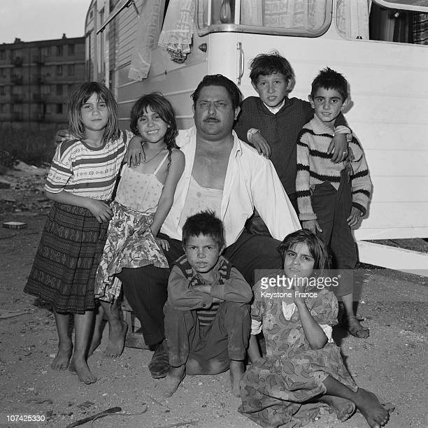 Gypsy In Paris Area Family Posing In France On 1955