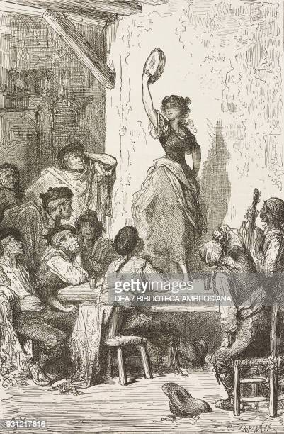 Gypsy woman dancing in a tavern near Seville Spain drawing by Dore from Travels in Spain by Gustave Dore and Jean Charles Davillier from Il Giro del...
