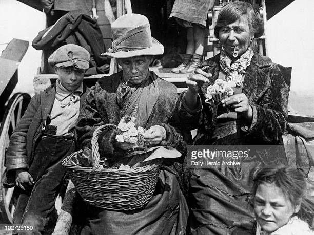 Gypsy woman with a basket of flawers Essex 1938 Gypsy woman with a basket of flawers with a young child and another woman July 1938 Photograph by...