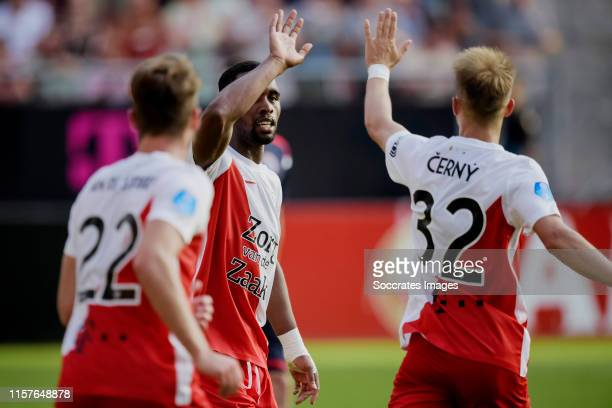 Gyrano Kerk of FC Utrecht celebrates 11 with Vaclav Cerny of FC Utrecht during the match between FC Utrecht v Zrinjski at the Stadium Galgenwaard on...