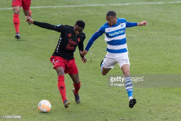 Gyrano Kerk of FC Utrecht Delano Burgzorg of De Graafschap during the Dutch Eredivisie match between De Graafschap Doetinchem and FC Utrecht at De...