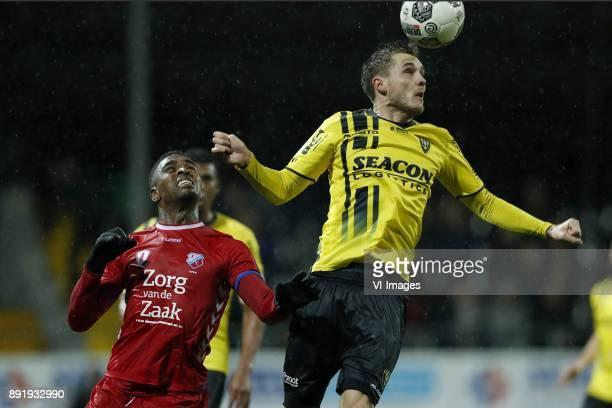 Gyrano Kerk of FC Utrecht Nils Roseler of VVV Venlo during the Dutch Eredivisie match between VVV Venlo and FC Utrecht at Seacon stadium De Koel on...