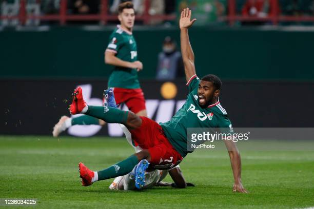 Gyrano Kerk of Lokomotiv Moscow and Marcao of Galatasaray in action during the UEFA Europa League Group E football match between FC Lokomotiv Moscow...