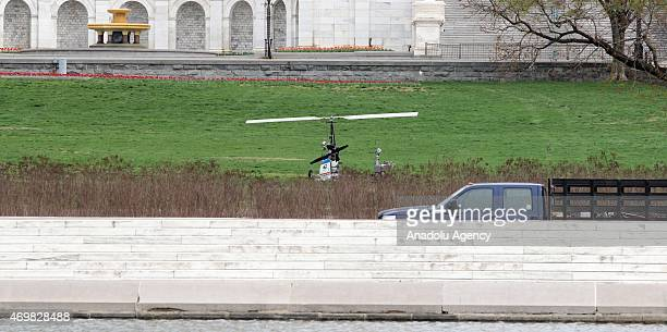 A gyrocopter seen after it landed on the West Front of the US Capitol on Capitol Hill causing the building and visitor center to be locked down...