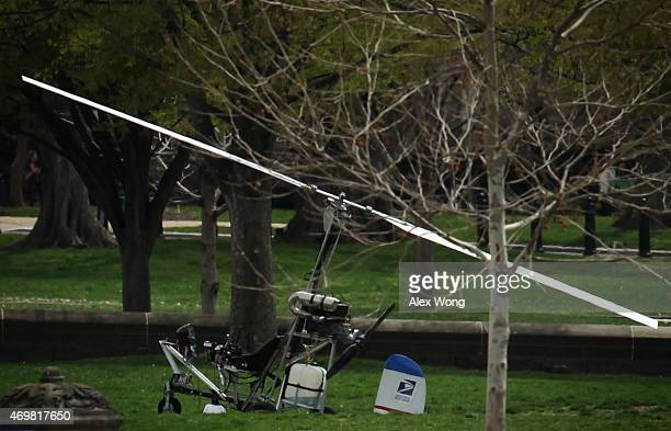 A gyrocopter sits on the West Lawn of the US Capitol April 15 2015 in Washington DC Doug Hughes a 61yearold postal worker from Ruskin Florida landed...