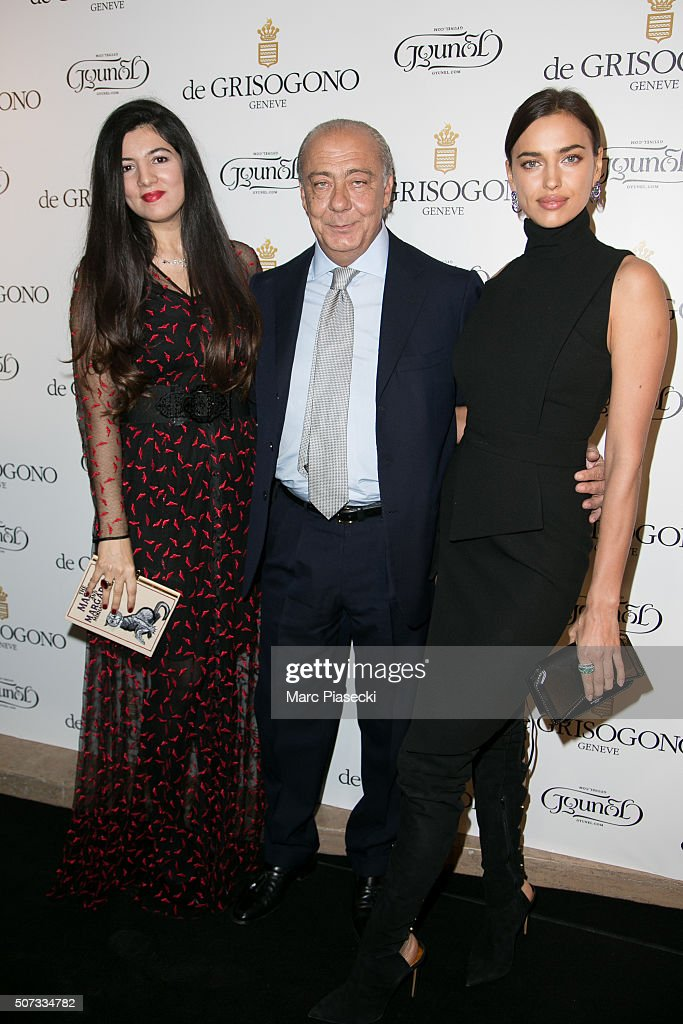 Gyunel Rustamova, Fawaz Grusoi and Irina Shayk attend the 'De Grisogono' La Boetie cocktail on January 28, 2016 in Paris, France.