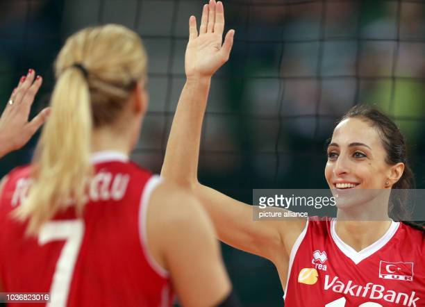 Gözde Sonsirma Kirdar of Turkey celebrates after wining their women's CEV Volleyball European Championship Group A match against Spain at Gerry Weber...