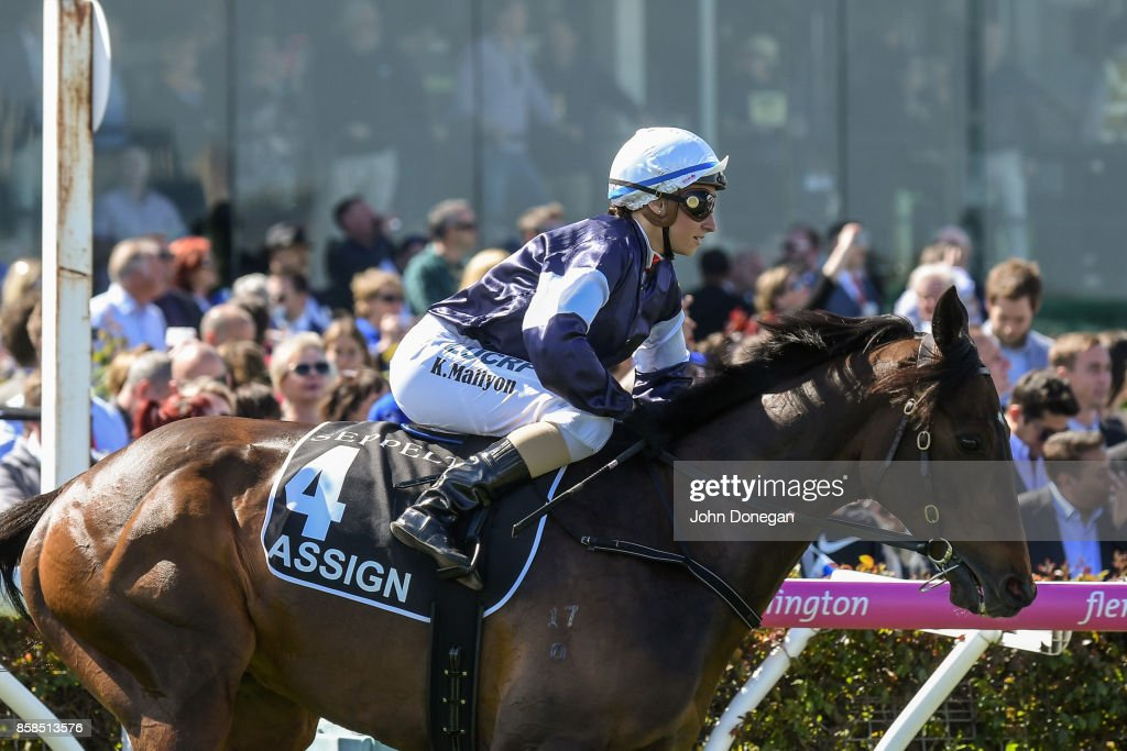 /h4/ ridden by /j4/ before the /r5/ at Caulfield Racecourse on October 07, 2017 in Caulfield, Australia.