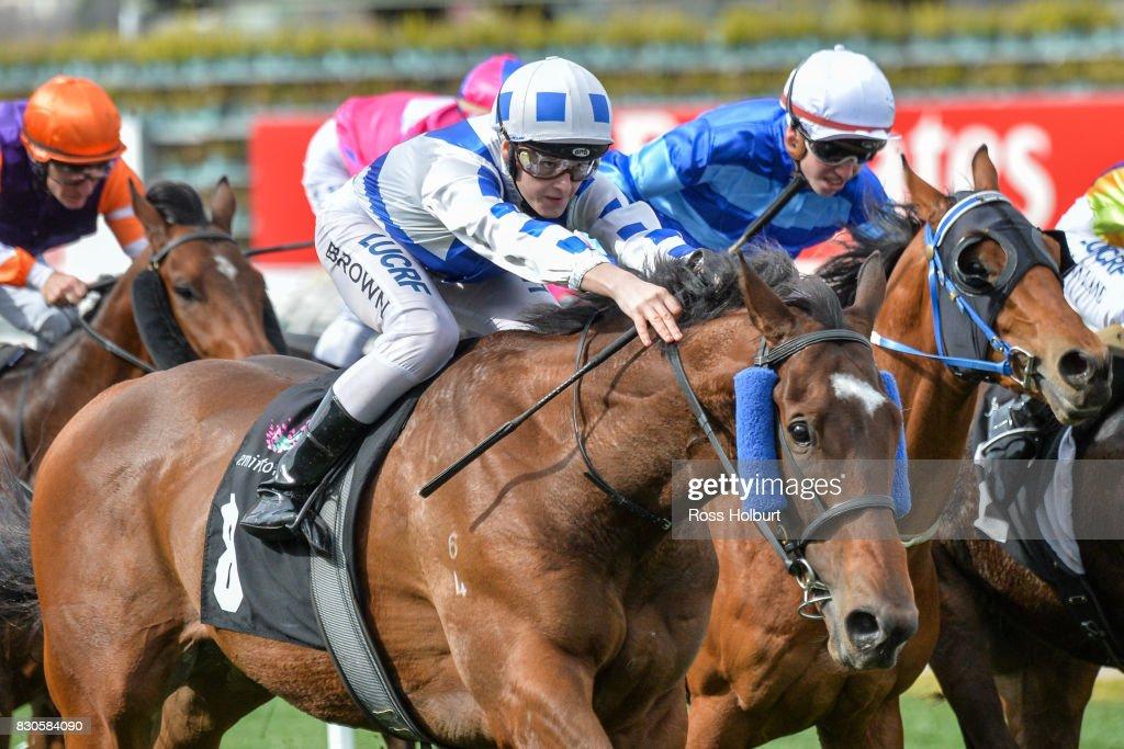 /h8/ ridden by /j8/ wins the /r1/ at Flemington Racecourse on August 12, 2017 in Flemington, Australia.