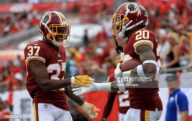 Ha Ha ClintonDix of the Washington Redskins is congratulated by Greg Stroman after recovering a fumble during a game against the Tampa Bay Buccaneers...