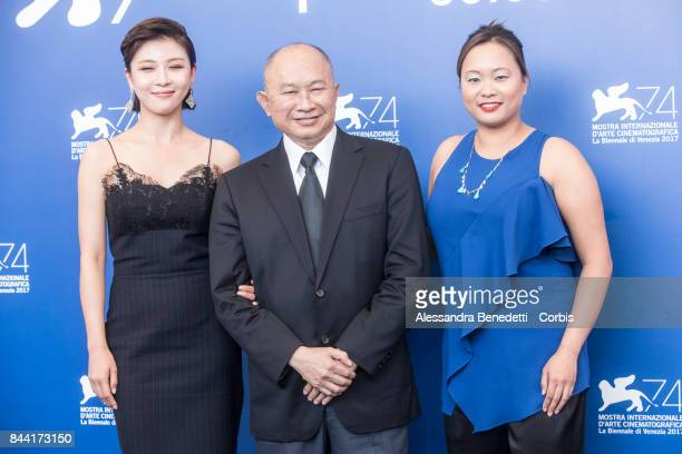 Ha Jiwon John Woo and Angeles Woo attend the 'Zhuibu ' photocall during the 74th Venice Film Festival at Sala Casino on September 8 2017 in Venice...