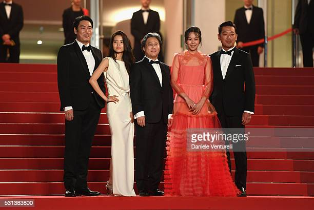 Ha JungWoo Kim MinHee Park ChanWook Kim TaeRi and Jo JingWoong attend The Handmaiden premiere during the 69th annual Cannes Film Festival at the...