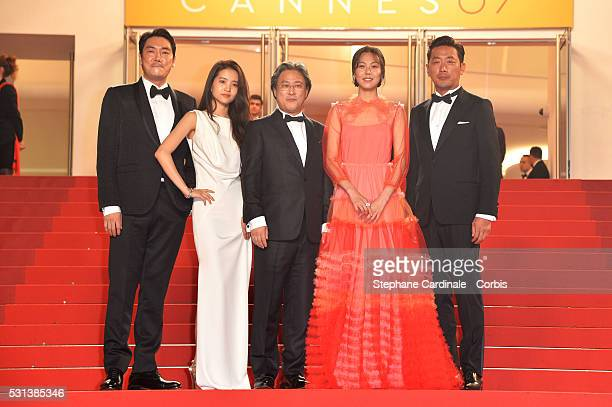 Ha JungWoo Kim TaeRi Park ChanWook Kim MinHee and Jo JingWoong attend 'The Handmaiden ' premiere during the 69th annual Cannes Film Festival at the...