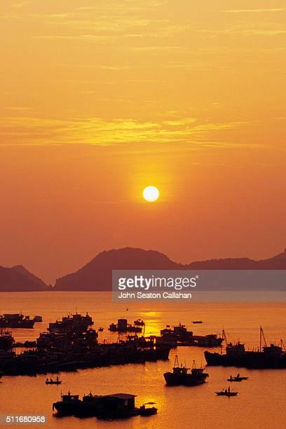 Ha Long Bay, sunset at Cat Ba Island
