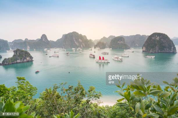 ha long bay, vietnam - beautiful sunrise - vietnam imagens e fotografias de stock