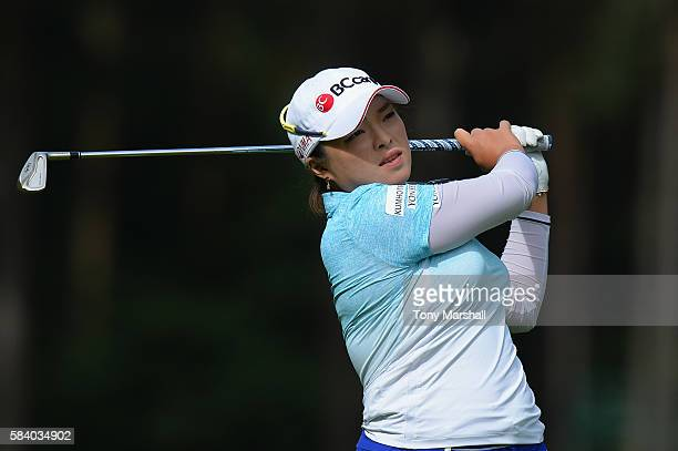Ha Na Jang of Korea hits her 2nd shot on the 3rd hole during the first round of the 2016 Ricoh Women's British Open on July 28 2016 in Woburn England