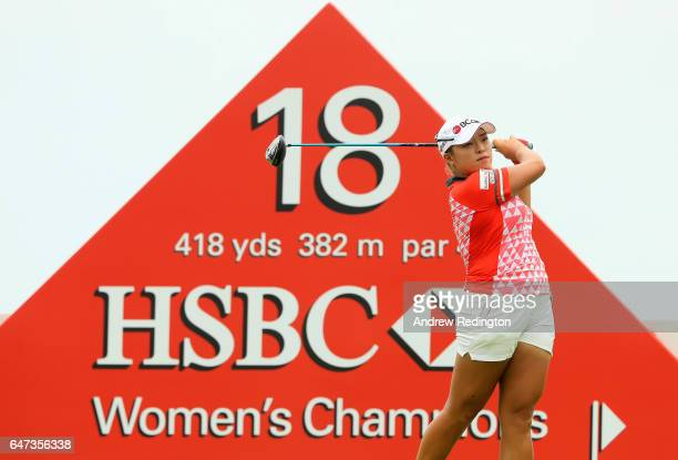 Ha Na Jang of Korea hits her teeshot on the 18th hole during the second round of the HSBC Women's Champions on the Tanjong Course at Sentosa Golf...