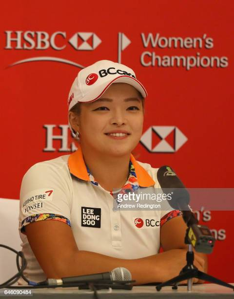 Ha Na Jang of Korea is pictured during a press conference during practice for HSBC Women's Champions on the Tanjong Course at Sentosa Golf Club on...