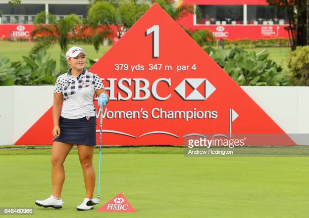 Ha Na Jang of Korea is pictured on the first tee during the Pro Am event prior to the start of the HSBC Women's Champions on the Tanjong Course at...
