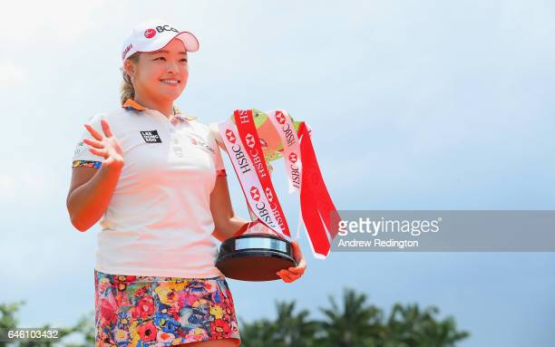Ha Na Jang of Korea poses with the trophy during a photocall for HSBC Women's Champions on the Tanjong Course at Sentosa Golf Club on February 28...