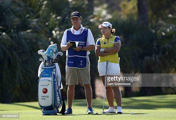Ha Na Jang of Korea prepares to play her shot on the second hole during the first round of the CME Group Tour Championship at Tiburon Golf Club on...