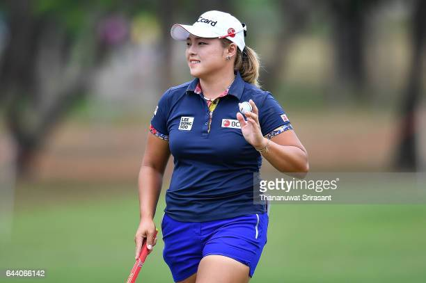 Ha na Jang of Republic of Korea acknowledges the fan during round one of the Honda LPGA Thailand at Siam Country Club on February 23 2017 in Chonburi...