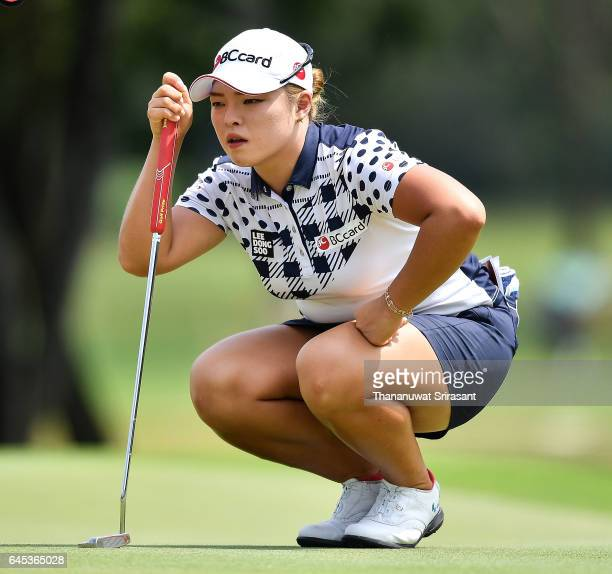 Ha na Jang of Republic of Korea looks on green during the Honda LPGA Thailand at Siam Country Club on February 25 2017 in Chonburi Thailand