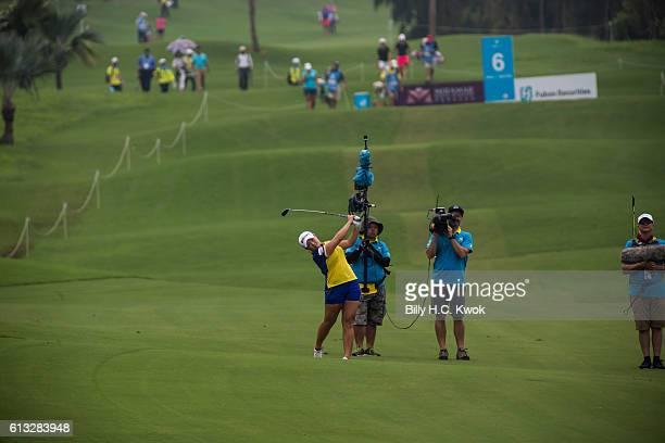 Ha Na Jang of Republic of Korea plays a shot in the Fubon Taiwan LPGA Championship on October 8 2016 in Taipei Taiwan