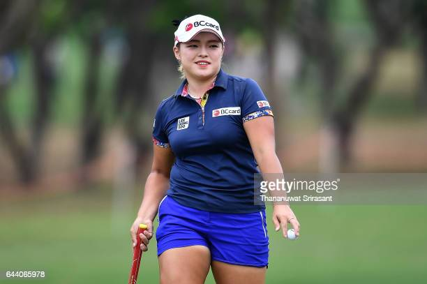 Ha na Jang of Republic of Korea smiles during round one of the Honda LPGA Thailand at Siam Country Club on February 23 2017 in Chonburi Thailand