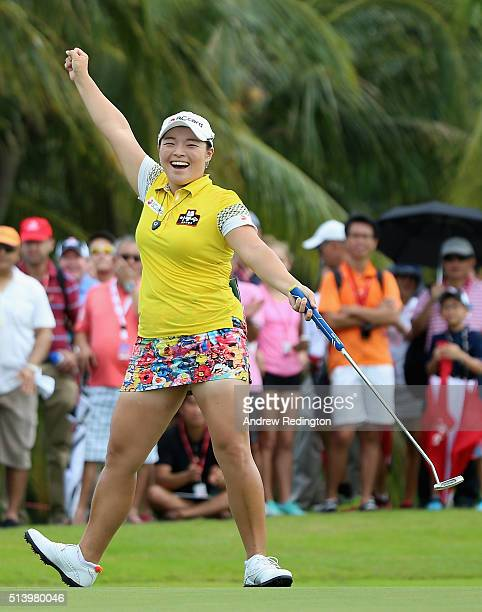 Ha Na Jang of South Korea celebrates her birdie on the 14th hole on her way to winning the tournament during the final round of the HSBC Women's...