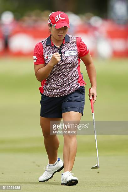 Ha Na Jang of South Korea competes during day two of the ISPS Handa Women's Australian Open at The Grange GC on February 19 2016 in Adelaide Australia