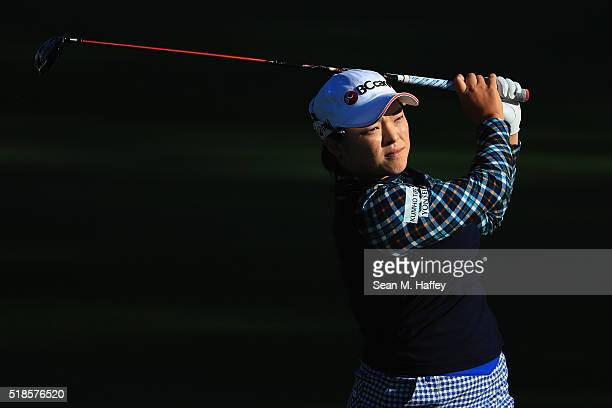 Ha Na Jang of South Korea hits a shot on the 2nd hole during the 2016 ANA Inspiration Championship at the Mission Hills Country Club on April 1 2016...