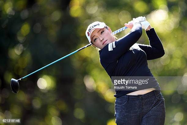 Ha Na Jang of South Korea hits her tee shot on the 2nd hole during the final round of the TOTO Japan Classics 2016 at the Taiheiyo Club Minori Course...
