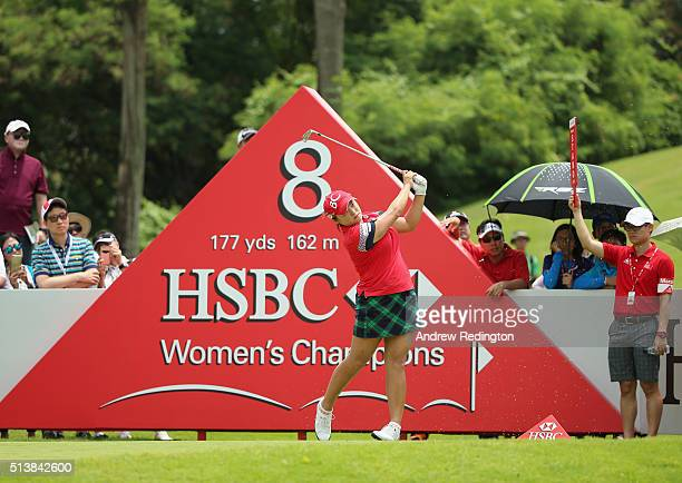 Ha Na Jang of South Korea hits her teeshot on the eighth hole during the third round of the HSBC Women's Champions at Sentosa Golf Club on March 5...
