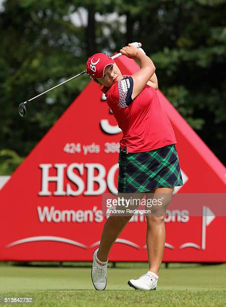 Ha Na Jang of South Korea hits her teeshot on the third hole during the third round of the HSBC Women's Champions at Sentosa Golf Club on March 5...