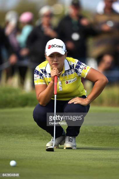 Ha Na Jang of South Korea lines up a putt during round four of the ISPS Handa Women's Australian Open at Royal Adelaide Golf Club on February 19 2017...