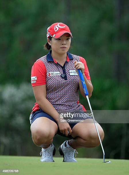 Ha Na Jang of South Korea looks over a putt on the 9th hole hole during the third round of the CME Group Tour Championship at Tiburon Golf Club on...