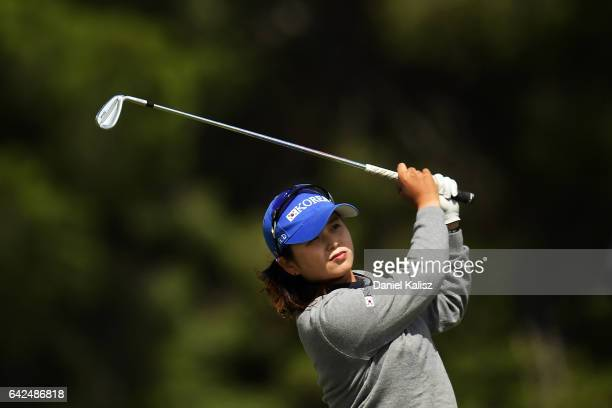 Ha Na Jang of South Korea plays a shot during round three of the ISPS Handa Women's Australian Open at Royal Adelaide Golf Club on February 18 2017...