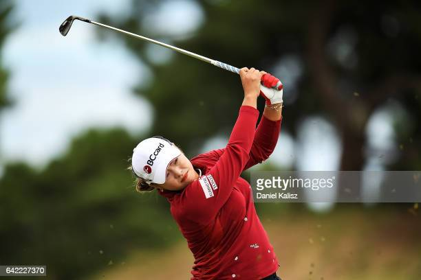 Ha Na Jang of South Korea plays a shot during round two of the ISPS Handa Women's Australian Open at Royal Adelaide Golf Club on February 17 2017 in...